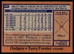 1978 Topps #347  Terry Forster  Back Thumbnail