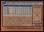 1978 Topps #531  Tom Underwood  Back Thumbnail