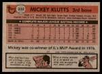 1981 Topps #232  Mickey Klutts  Back Thumbnail