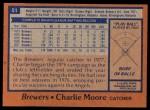 1978 Topps #51  Charlie Moore  Back Thumbnail