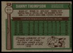 1976 Topps #111  Danny Thompson  Back Thumbnail