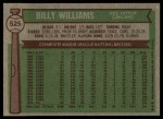 1976 Topps #525  Billy Williams  Back Thumbnail