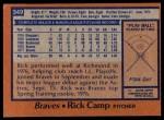 1978 Topps #349  Rick Camp  Back Thumbnail