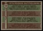 1976 Topps #598   -  Hector Cruz / Jamie Quirk / Jerry Turner / Joe Wallis Rookie Outfielders   Back Thumbnail