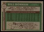 1976 Topps #151  Bill Bonham  Back Thumbnail
