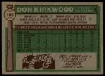 1976 Topps #108  Don Kirkwood  Back Thumbnail