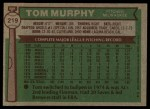 1976 Topps #219  Tom Murphy  Back Thumbnail
