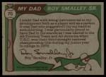 1976 Topps #70  Roy Smalley / Roy Smalley Jr .  Back Thumbnail