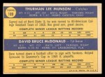 1970 Topps #189   -  Thurman Munson / Dave McDonald Yankees Rookies Back Thumbnail