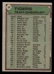 1979 Topps #66   -  Less Moss  Tigers Team Checklist Back Thumbnail