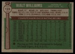 1976 Topps #123  Walt Williams  Back Thumbnail