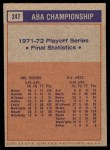 1972 Topps #247   ABA Championship Statistics Back Thumbnail