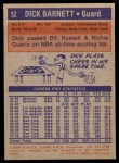 1972 Topps #52  Dick Barnett   Back Thumbnail