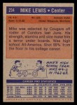 1972 Topps #234  Mike Lewis   Back Thumbnail