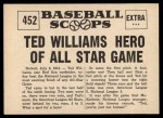 1961 Nu-Card Scoops #452   -   Ted Williams Ted Williams Hero of All-Star Game Back Thumbnail