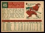 1959 Topps #415  Bill Mazeroski  Back Thumbnail