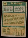 1971 Topps #43  Jim McKenny  Back Thumbnail