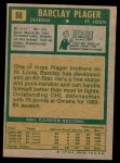 1971 Topps #66  Barclay Plager  Back Thumbnail