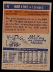 1972 Topps #148  Bob Love  Back Thumbnail