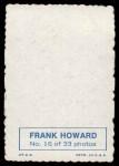 1969 Topps Deckle Edge #16  Frank Howard     Back Thumbnail