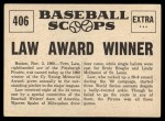 1961 Nu-Card Scoops #406   -   Vern Law  Vern Law Winner of Cy Young Award Back Thumbnail