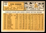 1963 Topps #439 xTCH Don Zimmer  Back Thumbnail