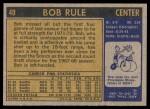 1971 Topps #40  Bob Rule  Back Thumbnail