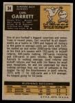 1971 Topps #34  Carl Garrett  Back Thumbnail