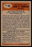 1955 Bowman #42  John Henry Johnson  Back Thumbnail