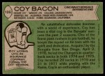 1978 Topps #135  Coy Bacon  Back Thumbnail