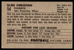 1952 Bowman Large #54  Glen Christian  Back Thumbnail