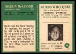 1966 Philadelphia #98  Marlin McKeever  Back Thumbnail