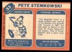 1968 Topps #33  Pete Stemkowski  Back Thumbnail