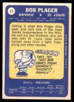 1969 Topps #13  Bob Plager  Back Thumbnail