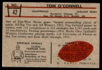 1953 Bowman #42  Tom O'Connell  Back Thumbnail