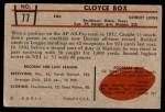 1953 Bowman #77  Cloyce Box  Back Thumbnail