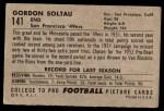 1952 Bowman Large #141  Gordon Soltau  Back Thumbnail