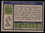 1972 Topps #193  Jake Scott  Back Thumbnail
