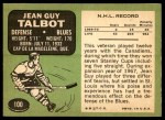 1970 Topps #100  Jean Guy Talbot  Back Thumbnail