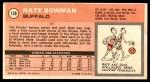 1970 Topps #138  Nate Bowman   Back Thumbnail