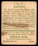 1933 Goudey Indian Gum #40  Dutchy   Back Thumbnail