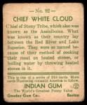 1933 Goudey Indian Gum #92   Chief White Cloud  Back Thumbnail