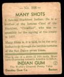 1933 Goudey Indian Gum #108  Many Shots   Back Thumbnail