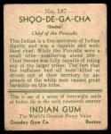 1933 Goudey Indian Gum #187  Shoo-De-Ga-Cha   Back Thumbnail