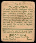 1933 Goudey Indian Gum #33  Pocahontas   Back Thumbnail