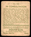1933 Goudey Indian Gum #114  In Consultation   Back Thumbnail