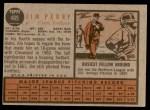 1962 Topps #405  Jim Perry  Back Thumbnail