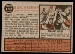 1962 Topps #182 GRN Bob Nieman  Back Thumbnail