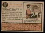 1962 Topps #457  Lou Clinton  Back Thumbnail