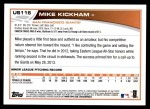 2013 Topps Update #116  Mike Kickham  Back Thumbnail